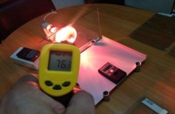 Температура нагрева стекла через 5 минут без пленки